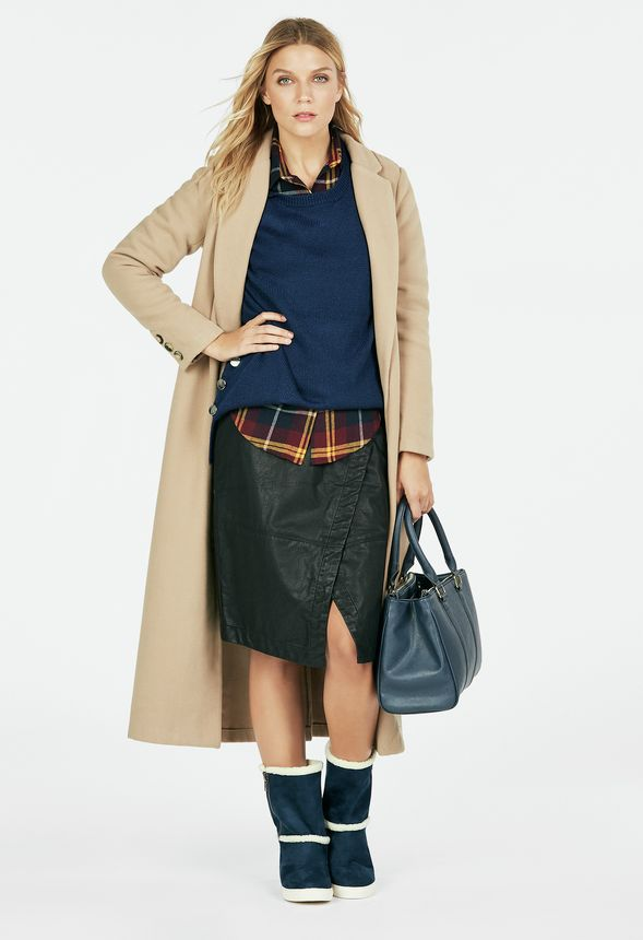 Faux Leather Wrap Skirt In Wine Get Great Deals At Justfab