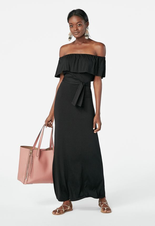 bb1dcf6e52d9 Off Shoulder Maxi Dress in Black - Get great deals at JustFab