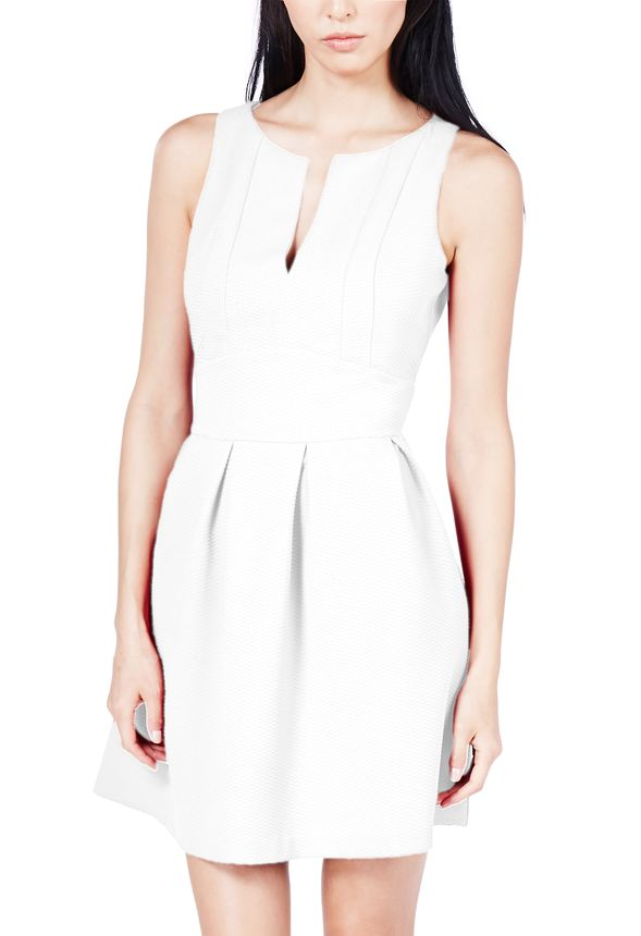 088cca5e58 Textured V-Neck Fit And Flare Dress in Off-White - Get great deals at  JustFab