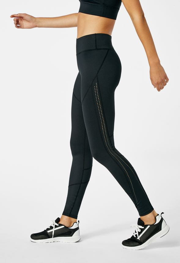 c5ed96ae6b497 Side Panel Perforated Active Leggings in Black - Get great deals at JustFab
