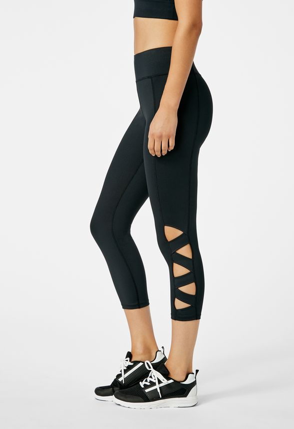 a752eb4084 High Waisted Strappy Crop Active Leggings in Black - Get great deals at  JustFab