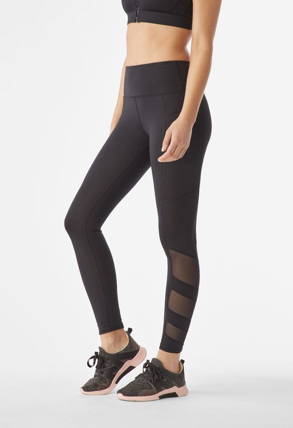 a44b2341d72f3 High Waisted Mesh Blocked Leggings in Black - Get great deals at JustFab