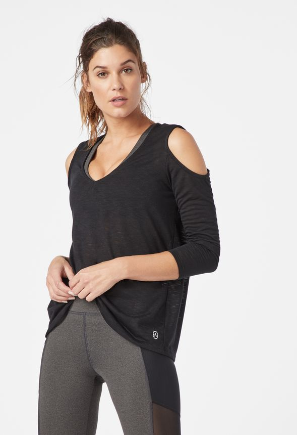 f72606cb2acbe4 Cold Shoulder Yoga Top in Black - Get great deals at JustFab