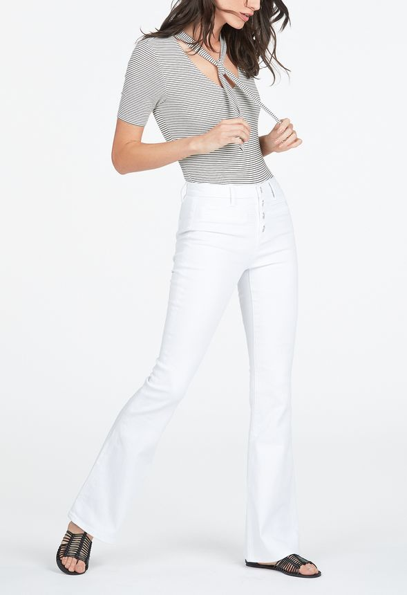 Button Front High Waisted Flare