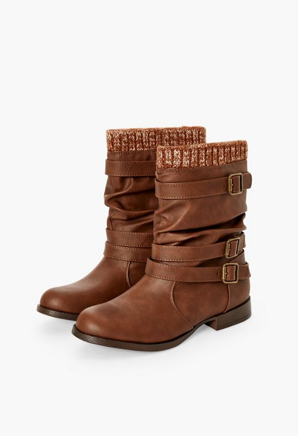 Nafise Sweater Cuff Boot In Cognac Get Great Deals At Justfab