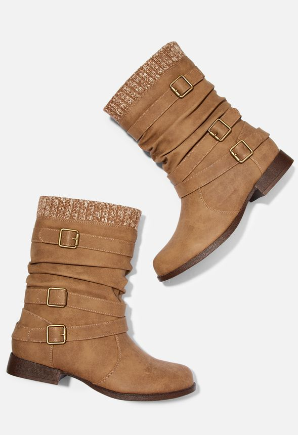 Nafise Sweater Cuff Boot In Tan Get Great Deals At Justfab