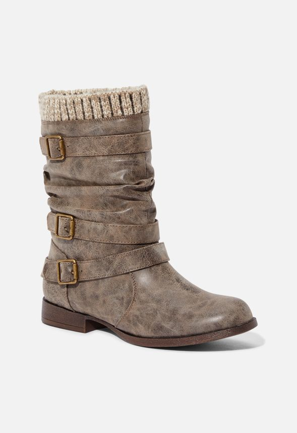 Nafise Sweater Cuff Boot In Taupe Get Great Deals At Justfab
