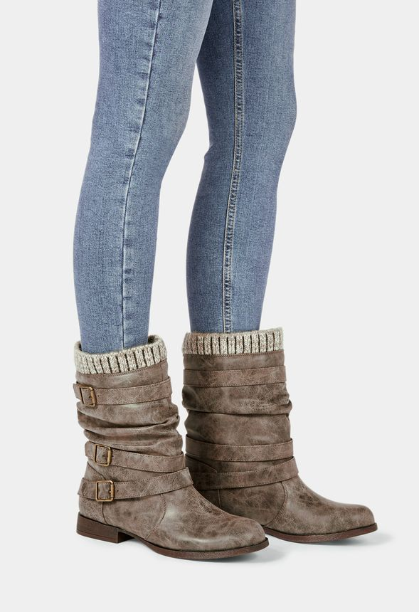 94006fb84a8 Nafise Sweater Cuff Boot in Taupe - Get great deals at JustFab