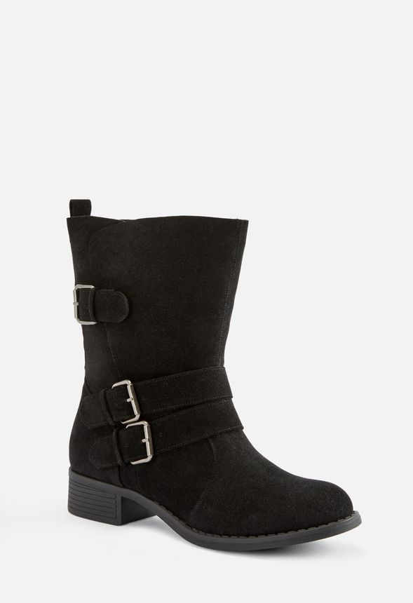 fbb9a16e0159e Selene Buckle Boot in black faux suede - Get great deals at JustFab