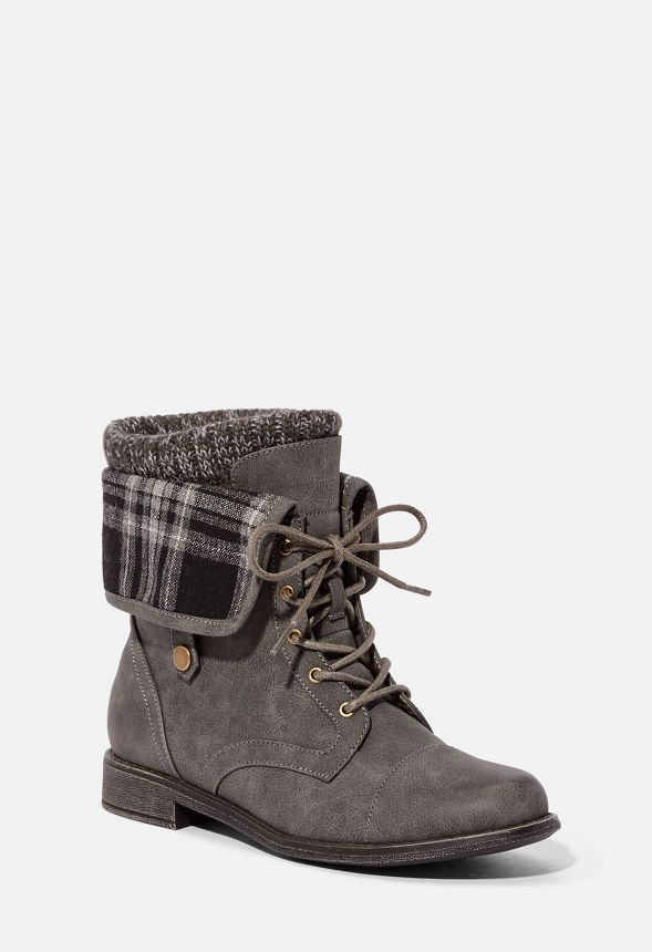 e6a52a283a35 Elenora Plaid Panel Flat Boot in Gray - Get great deals at JustFab