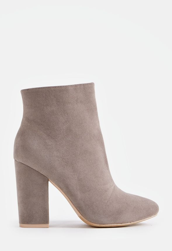 31af60bfd36 Besha Faux Suede Block Heel Bootie in Gray - Get great deals at JustFab