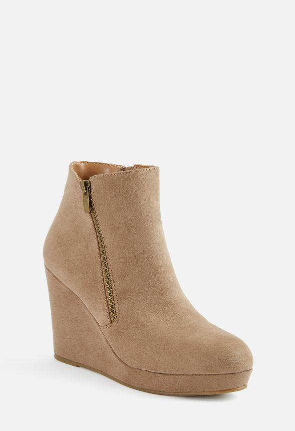 15a9d210c24 Jessy Zip-Up Wedge Bootie in Taupe - Get great deals at JustFab