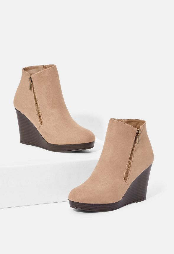 48b47158c5b Jessy Zip-Up Wedge Bootie in DARK TAUPE - Get great deals at JustFab