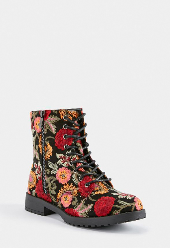 dbaa0114039e1 Corrie Lace-Up Boot in BLACK FLORAL - Get great deals at JustFab