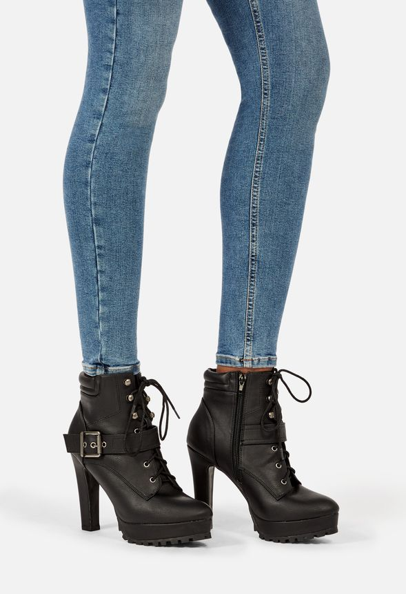 Cady Heeled Bootie in Black Get great deals at JustFab
