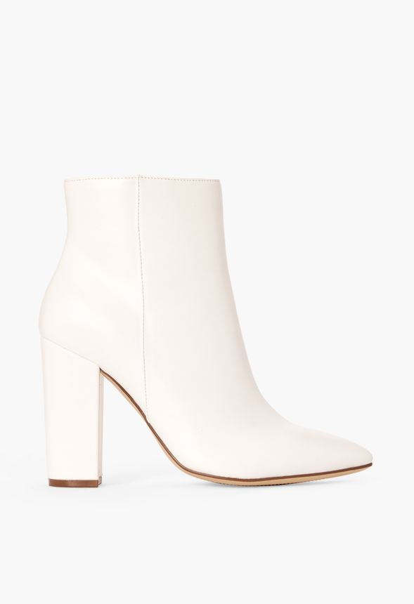 Rosamund Block Heel Bootie in White