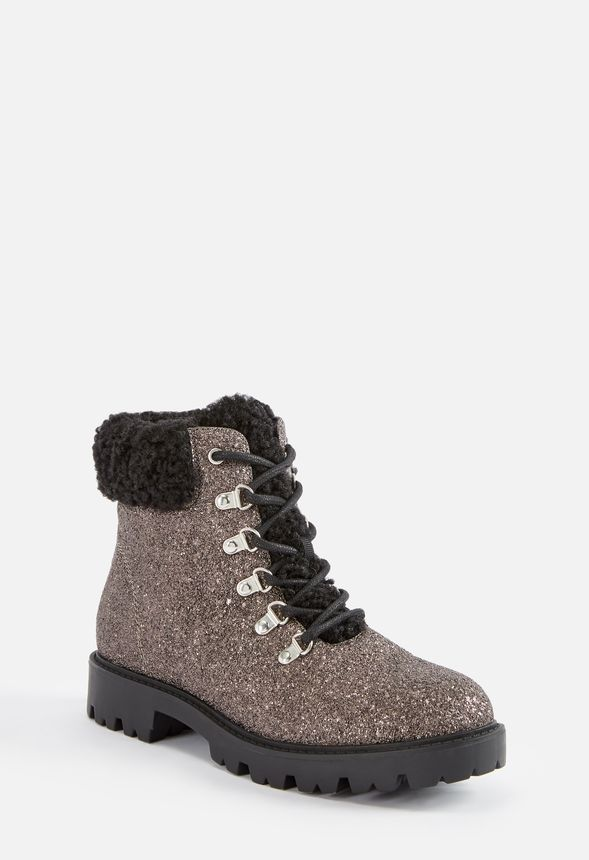 fadf5e74fbe Jane Glitter Lace-Up Boot in Black - Get great deals at JustFab