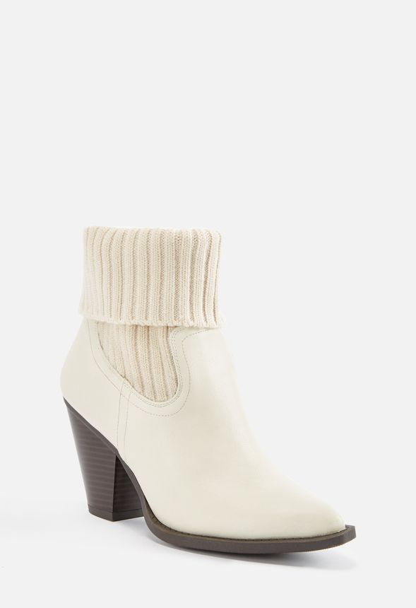a4d621debc Lois Sweater Cuff Bootie in White - Get great deals at JustFab
