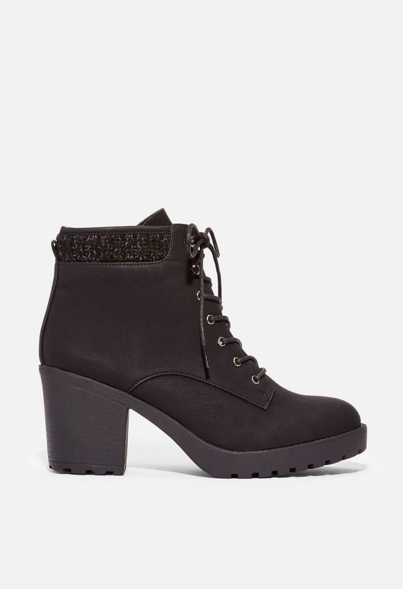 3fa5ca3ed9 Brooke Sweater Cuff Lace-Up Bootie in Black - Get great deals at JustFab