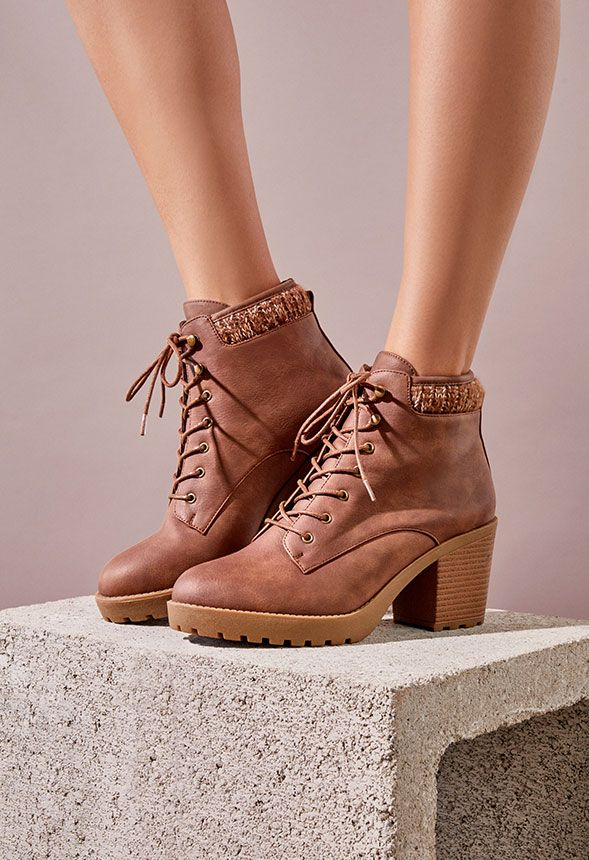 721c997bab Brooke Sweater Cuff Lace-Up Bootie in Cognac - Get great deals at ...