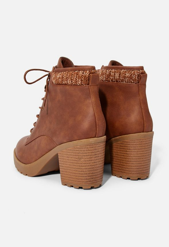 b2ffa6fa43 Brooke Sweater Cuff Lace-Up Bootie in Cognac - Get great deals at ...