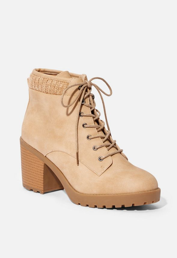 3622a5628a Brooke Sweater Cuff Lace-Up Bootie in Taupe - Get great deals at JustFab