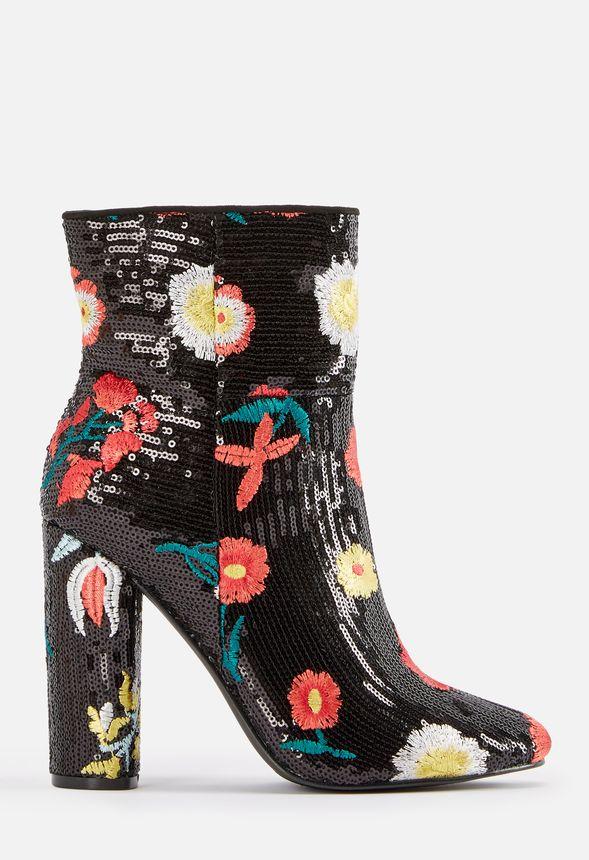 sequin bootie heels