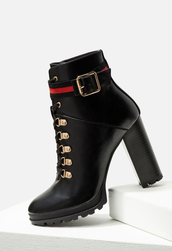 34750bcd15b Ribonea Lace-Up Platform Bootie in Black - Get great deals at JustFab