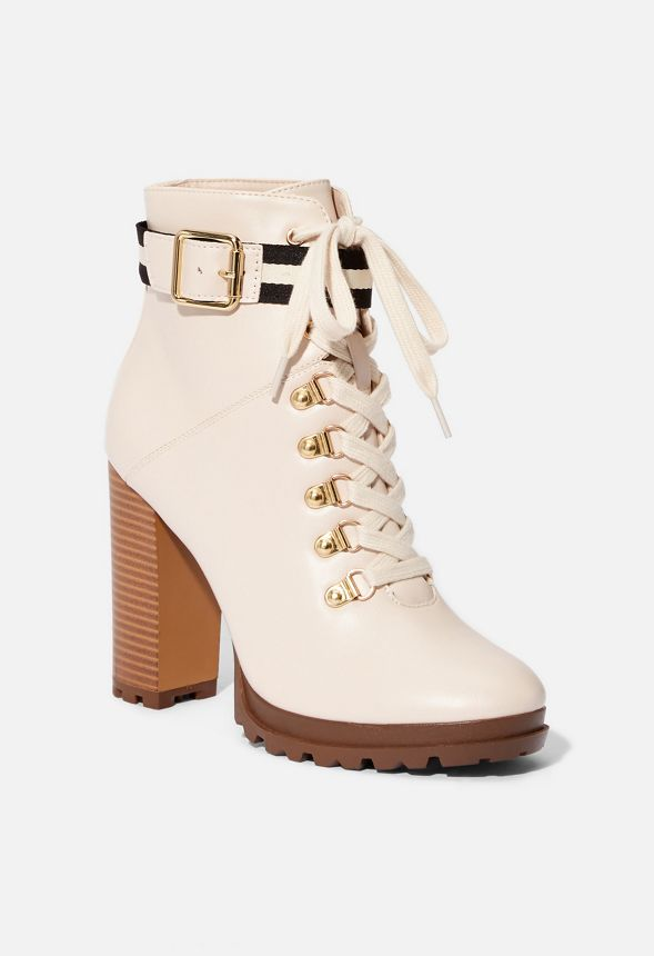 6d8f8c88f8c Ribonea Lace-Up Platform Bootie in Bone - Get great deals at JustFab