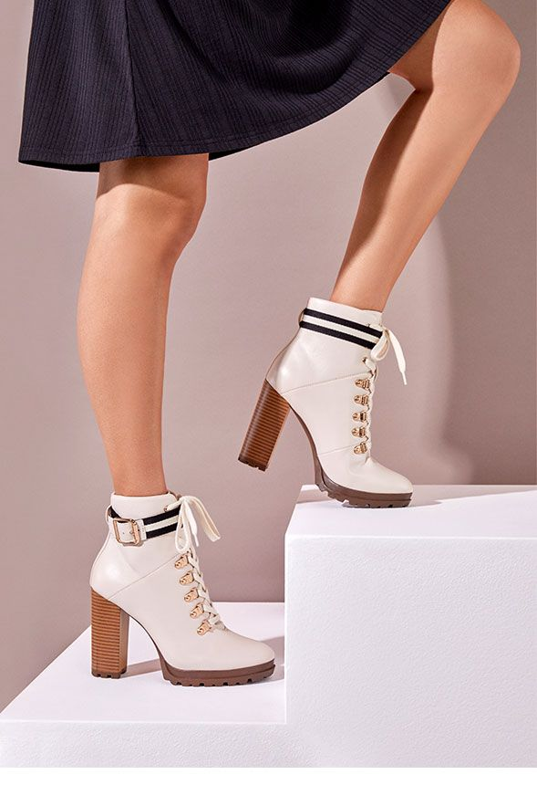 3e145caa5fb2 Ribonea Lace-Up Platform Bootie in Bone - Get great deals at JustFab