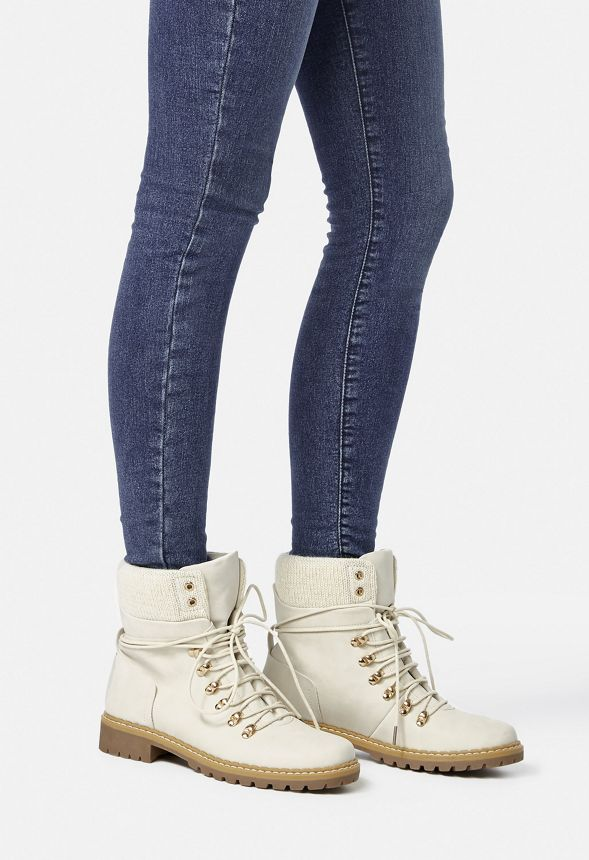Kass Lace-Up Rugged Boot in White - Get