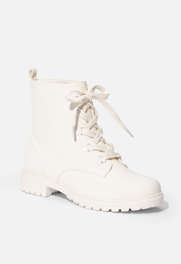 Jordyn Lug Sole Combat Boot in White Get great deals at