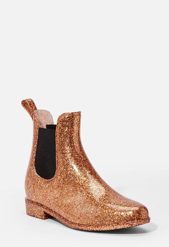 Zuri Rain Boot in Rose Gold Glitter
