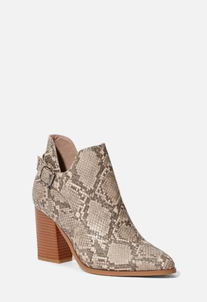 On The Sky Snake Skin Heeled Bootie ...