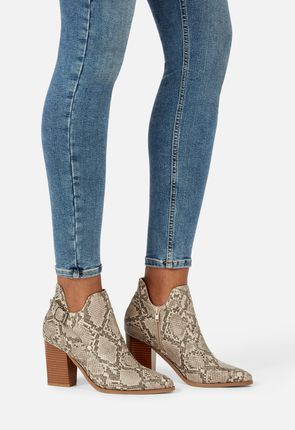 ... On The Sky Snake Skin Heeled Bootie