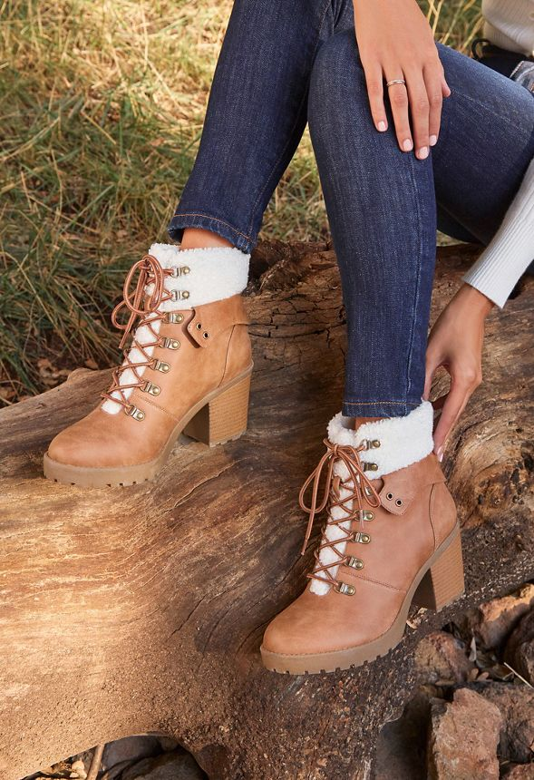Ryden Lace Up Bootie in Camel - Get