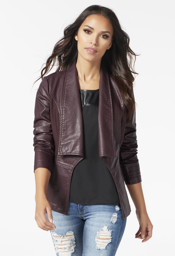 d2092f07c2b Faux Leather Ponte Jacket in Wine - Get great deals at JustFab