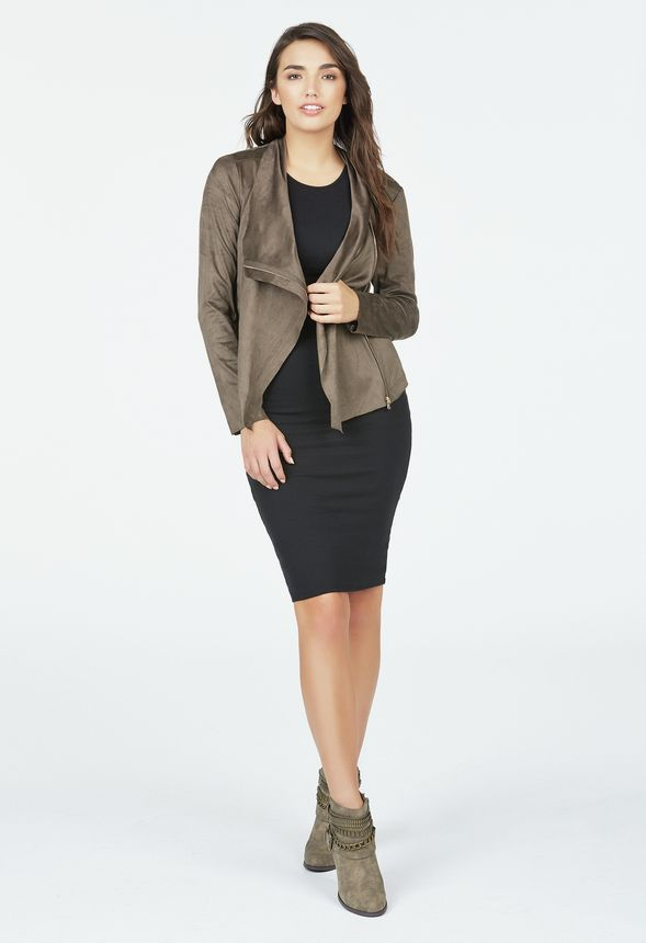 e8af5dd1e8c Faux Suede Draped Front Jacket in mushroom - Get great deals at JustFab