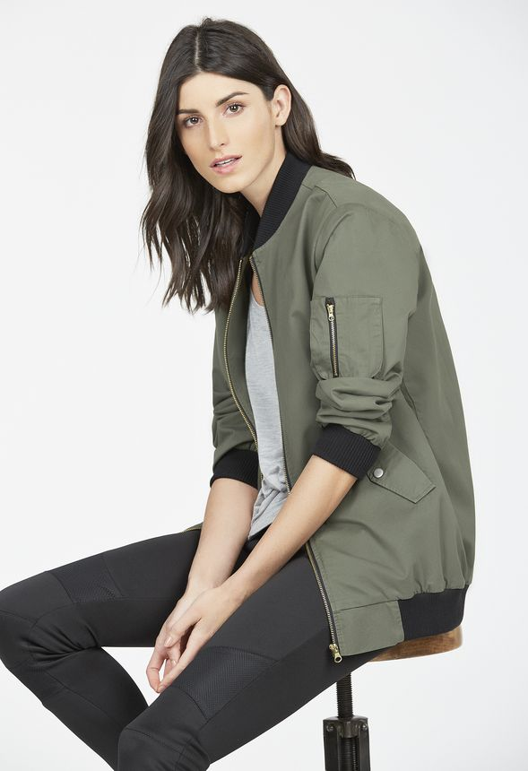 41d043c03 Oversized Bomber Jacket in Olive - Get great deals at JustFab