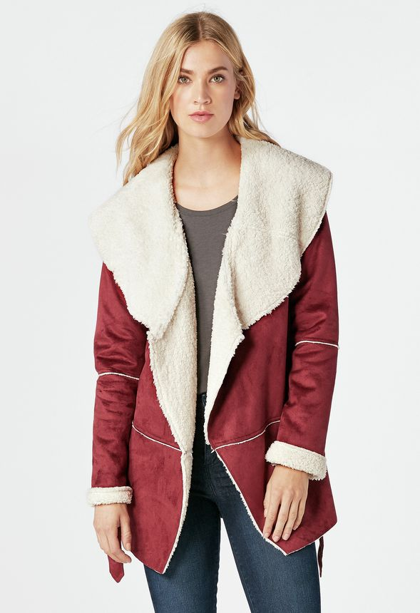Faux Shearling Wrap Coat in Oxblood - Get great deals at JustFab
