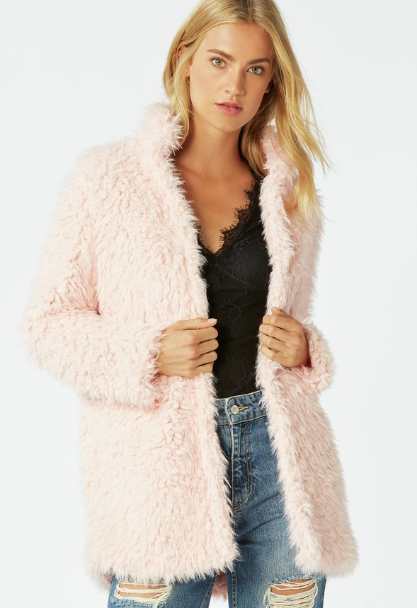 2d54502bfc9 Long Faux Fur Coat in mellow rose - Get great deals at JustFab