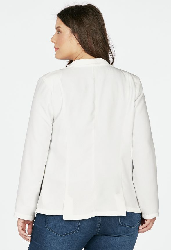 Zip Blazer In Off White Get Great Deals At Justfab