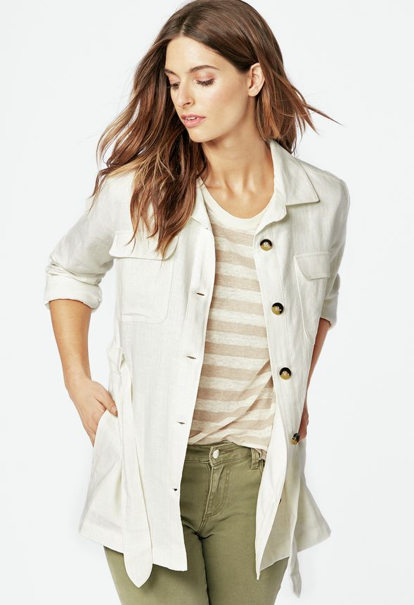 02583535409 Linen Safari Jacket in Off-White - Get great deals at JustFab
