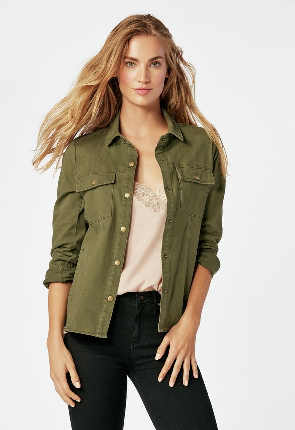 Button Down Jacket In Clover Olive Get Great Deals At Justfab