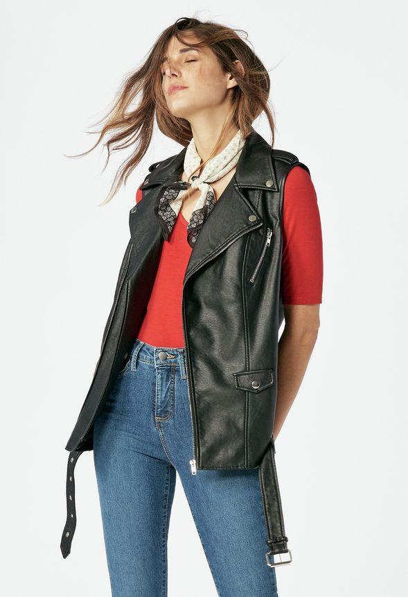 60e1b88b71a Long Moto Vest in Black - Get great deals at JustFab