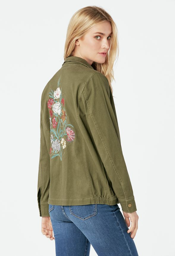 49f5a71291 Embroidered Army Jacket in dark olive - Get great deals at JustFab