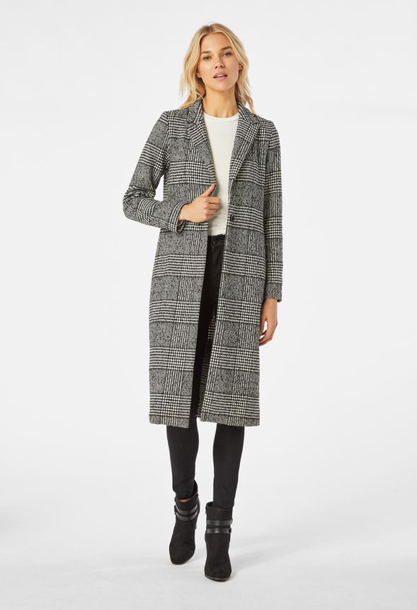 8f18f978f Oversized Plaid Coat in Black Multi - Get great deals at JustFab