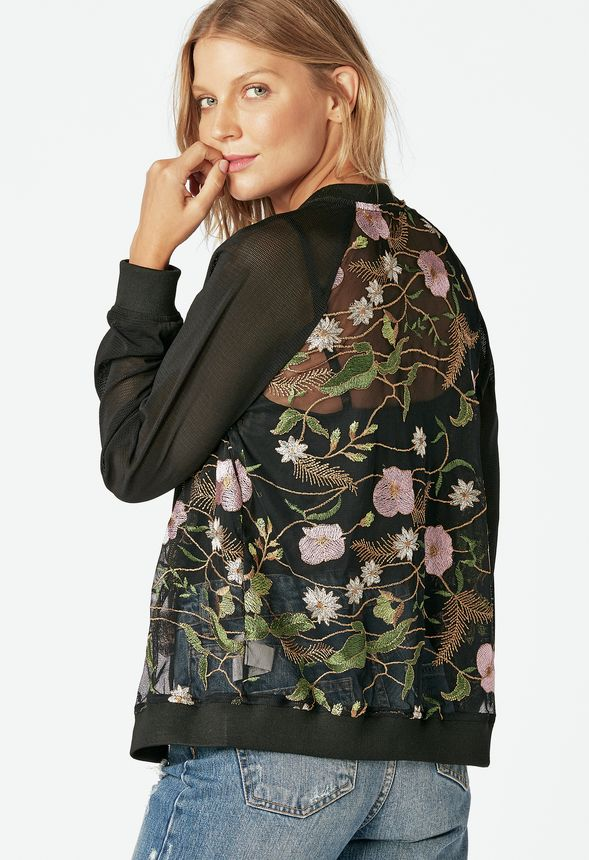 d30c79ae3cb8c5 Embroidered Bomber Jacket in Black Multi - Get great deals at JustFab