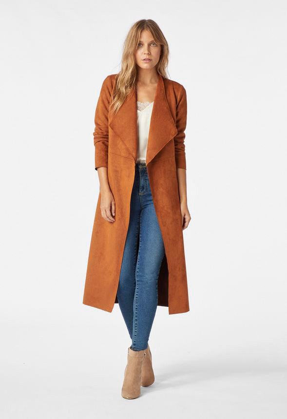 1edfe004 Faux Suede Drape Coat in ROASTED PECAN - Get great deals at JustFab
