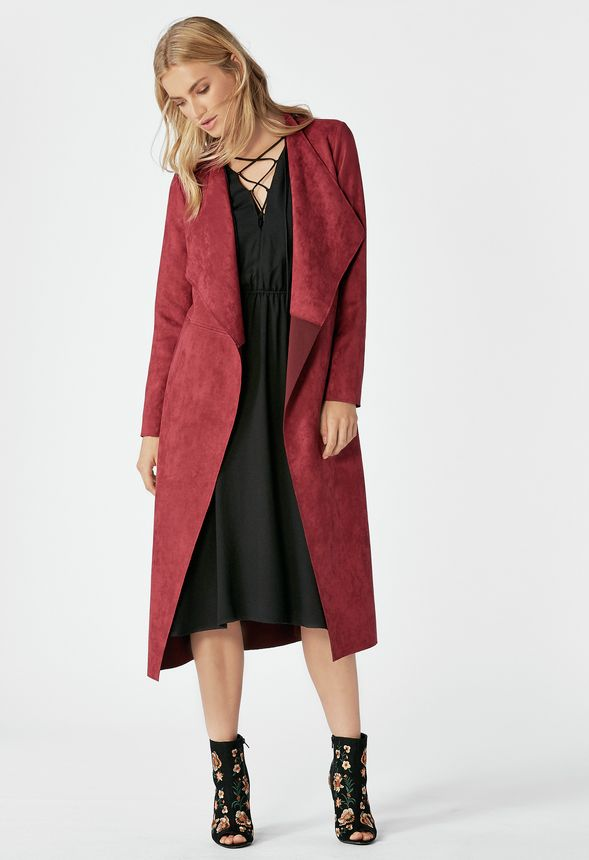 6dd4eb8ac86 Faux Suede Drape Coat in oxblood - Get great deals at JustFab